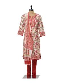 Pink And Green Floral Printed Churidar Suit Set - KILOL