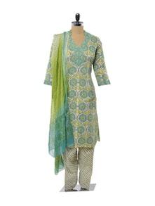 Turqouoise And Green Splendour Salwar Suit - KILOL