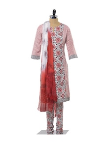 Red And Black Printed Cotton Salwar Suit - KILOL