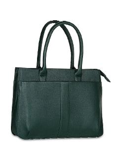 Textured Green Laptop Bag - ALESSIA