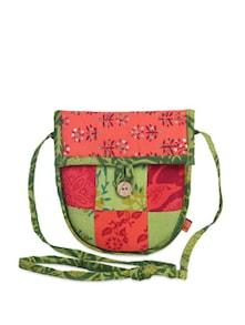 Peach & Green Patchwork Sling Bag - Desiweaves