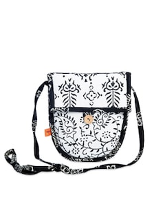 Elegant White Printed Sling Bag - Desiweaves