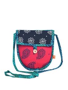 Ethnic Red & Blue Sling Bag - Desiweaves