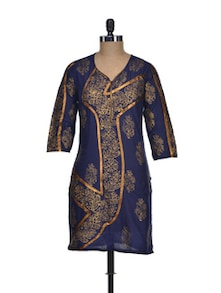 Floral Print Kurti In Navy And Bronze - NEE