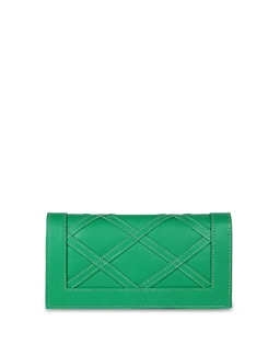 Green Faux Leather Clutch - ALESSIA