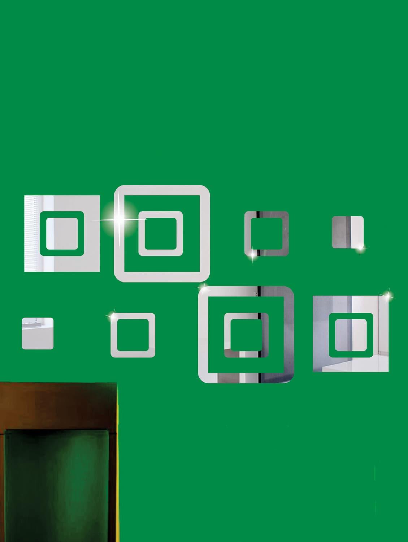 Scattered Squares 3D Mirror Sticker - Zeeshaan