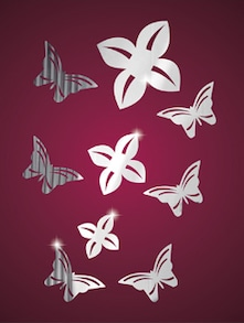 Butterfly Flowers 3D Mirror Sticker - Zeeshaan
