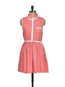Printed Red Summer Dress - Mishka