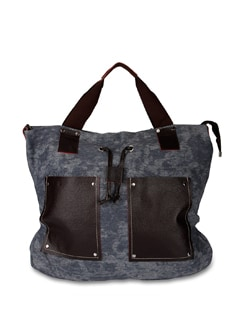 Blue Washed Canvas Bag With Large Faux Leather Pockets - ALESSIA