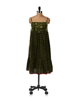 Olive Green Printed Dress - Desiweaves