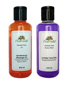 Sandalwood Massage Oil & Lavender Ylang Ylang Body Wash - Pack Of 2 - IYurveda
