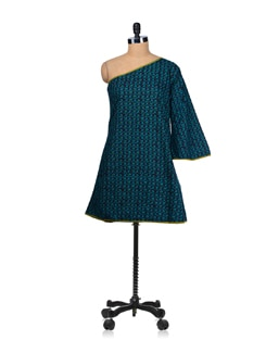 Jade Green One Shouldered A Line Dress With Flair Sleeves - Desiweaves