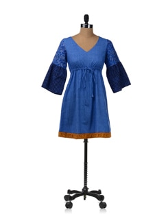 Blue Knee Length A-Line Dress With Draw Cords - Desiweaves