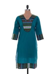 Blue Print Cotton Kurta - Jaipurkurti.com