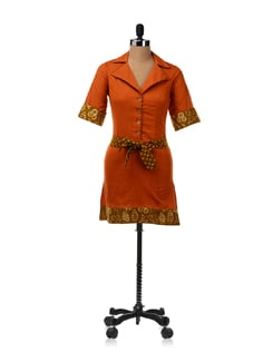 Orange A-Line Collared Buttoned Down Dress - Desiweaves