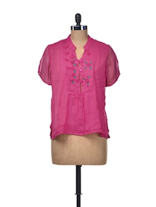 Pretty Pink Embroidered Top - ETHNIC