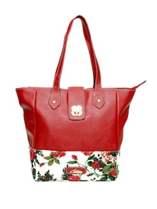Stylish Maroon Floral Tote Bag - Addons