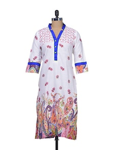White Floral Cotton Kurta - Indie Cotton Route