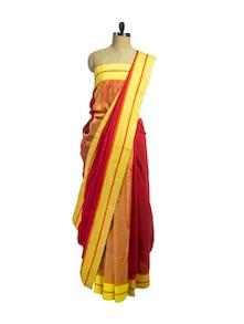 Red & Yellow Handwoven Cotton Jamdhani Saree - Spatika Sarees