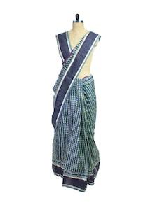 Black Cotton Silk Maheshwari Saree - Spatika Sarees