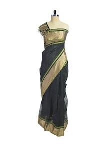 Traditional Black & Gold Maheshwari Saree - Spatika Sarees