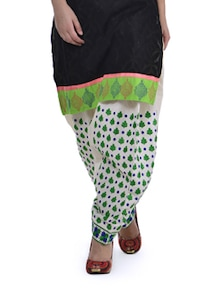 White & Green Floral Patiala Salwar - Home Of Impression