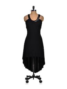 Black Asymmetric Backless Dress - Sanchey