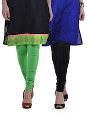 Green & Black Leggings - Set Of 2 - Tulsattva