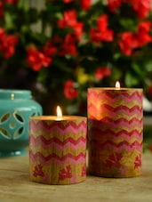 Laheriya Pillar T-light Holder - Pink Set Of 2 - Wildflower