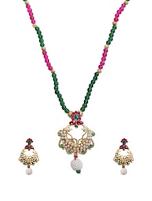 Elite Cream  Green Bead Necklace Set - KSHITIJ