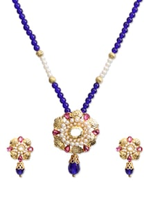 Attractive Blue Beads Necklace Set - KSHITIJ
