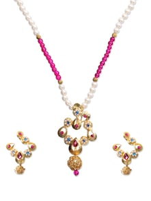 Dainty White  Pink Beads Necklace Set - KSHITIJ