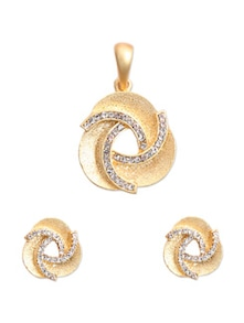 Gold Plated Knot Pendant Set - KSHITIJ