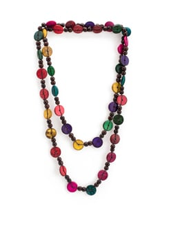 Colourful Wooden Bead Long Necklace - ALESSIA
