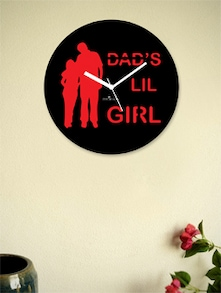Dad's Lil Girl Wall Clock In Black And Red - Zeeshaan