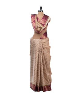 Gold Toned Chanderi Saree With Silk Pallu And Pink Banarasi Border - Bunkar