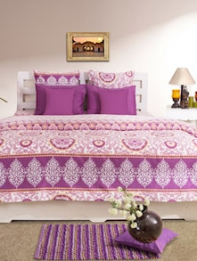 Stylish Purple Printed Double Bedsheet - HOUSE THIS