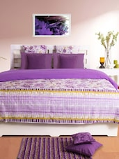 Purple Floral Double Dohar Cover - HOUSE THIS