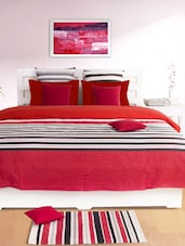 Red Striped Double Dohar Cover - HOUSE THIS