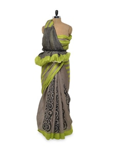 Lime And Grey Bhagalpuri Silk Saree - Awesome