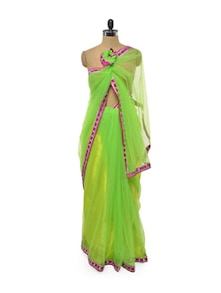 Neon Green Net Saree With Fuchsia Mirror Border - Get Style At Home