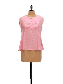 Elegant Pink Pleated Top - AND