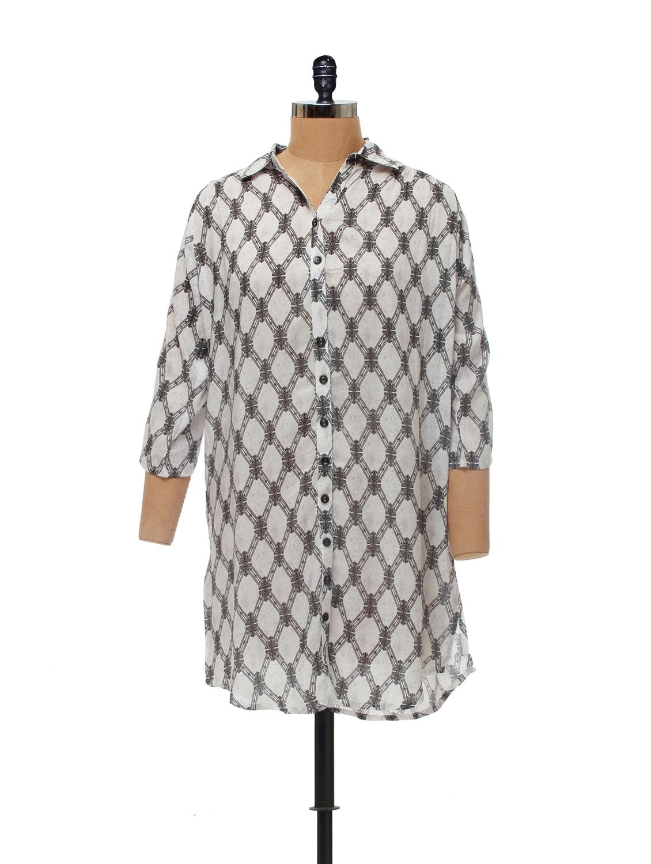 White & Black Printed Tunic - AND
