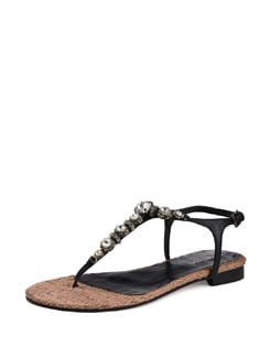 Black Embellished Sandals With Woven Sole - Carlton London