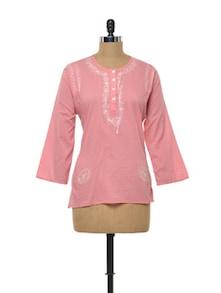 Embroidered Coral Pink Cotton Kurti - Myra