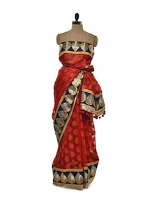 Red Rouge Net Saree - Free Living