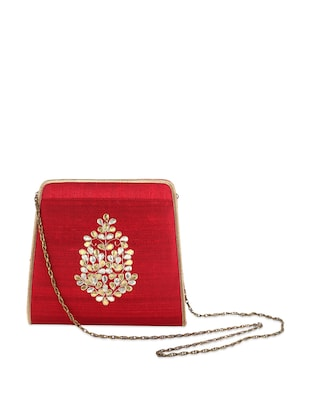 Red Sling Bag With Gota-Patti Work