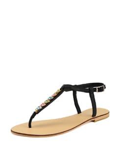Black Sandals With Multi Colour Embellishments - Carlton London