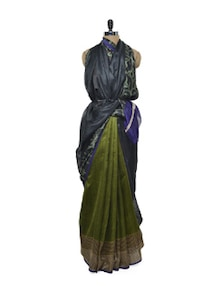 Blue And Green Bhagalpuri Silk Saree - ROOP KASHISH