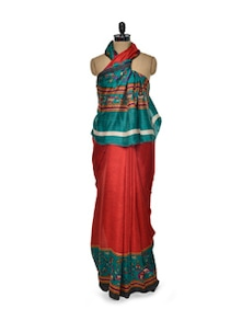 Red And Green Silk Saree - ROOP KASHISH
